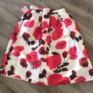 Pink & white flower high waisted midi skirt